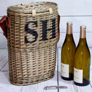 Personalised Willow Wine Carrier - 80th birthday gifts