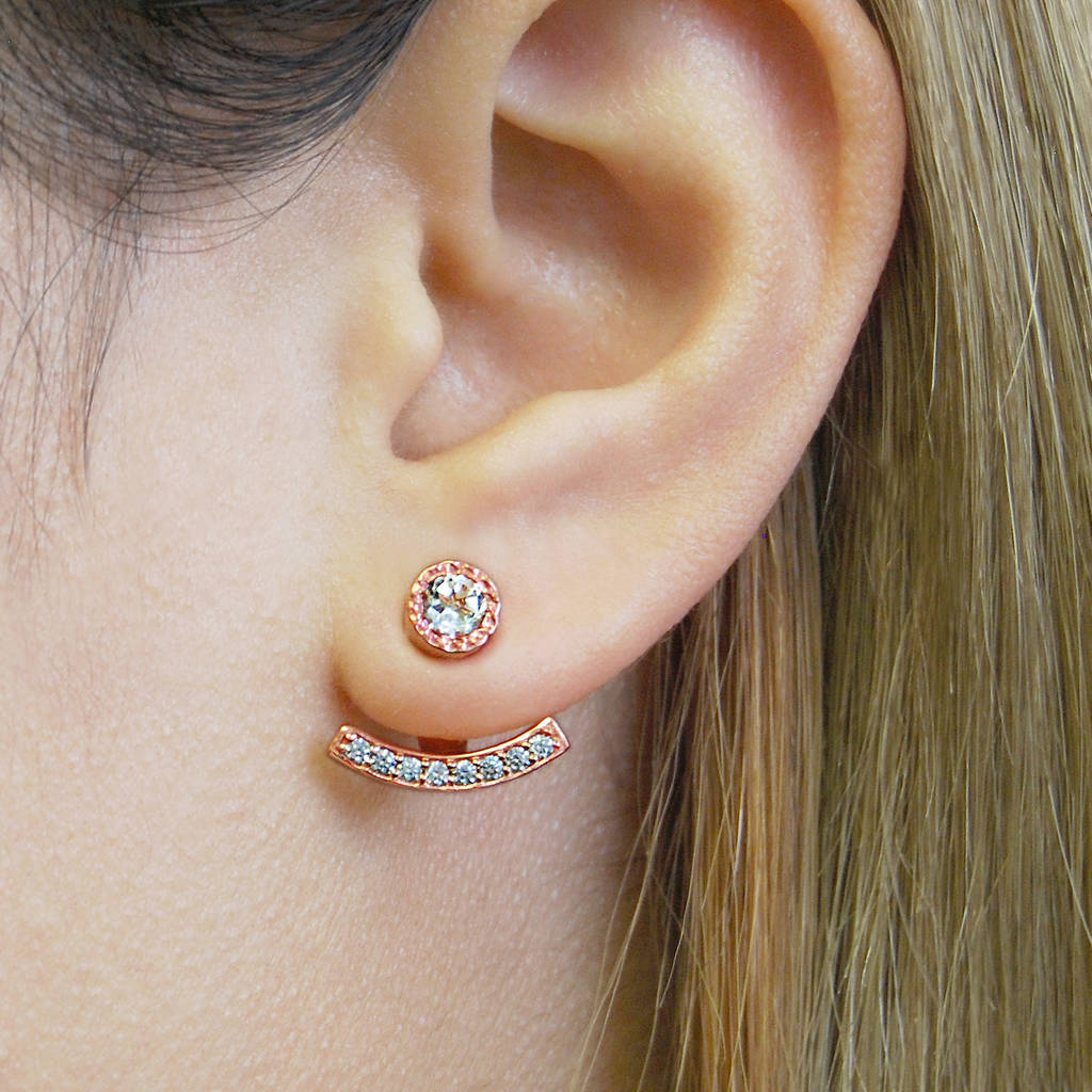 Rose Gold And Topaz Ear Jacket Earrings