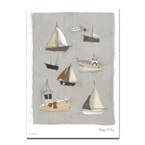Cornish Boats A3 Print - drawings & illustrations