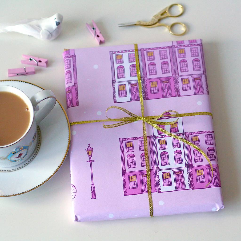 pastel pink london street christmas wrapping paper by laura crow | notonthehighstreet.com