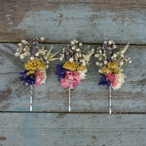 Festival Meadow Dried Flower Hair Grips Set Of Five - head pieces
