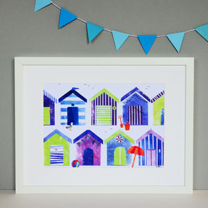 Beach Huts Collage Print - architecture & buildings