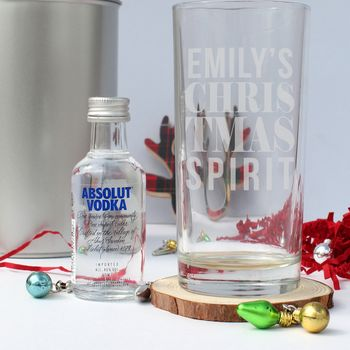 Christmas Spirit Personalised Glass And Vodka Gift Sets