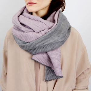 Personalised Reversible Pleated Cashmere Scarf Shawl - gifts for her