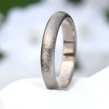 Hammered Ring In Ethical 18ct White Gold Or Platinum