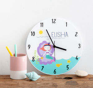 Girl's Bedroom Mermaid Theme Personalised Clock Gift - home accessories