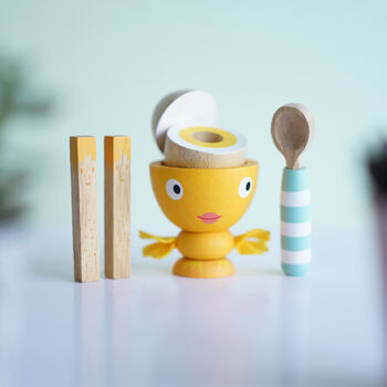 Wooden Egg Cup And Soldiers Toy