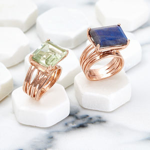 Rose Gold Geometric Gemstone Cocktail Ring Pietra - gifts for her