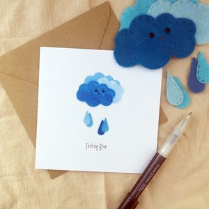Feeling Blue Greeting Card - blank cards