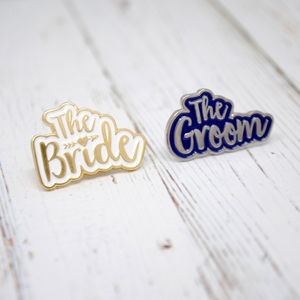 The Bride And The Groom Wedding Enamel Lapel Pin Set