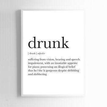 Drunk Definition Noun Wall Art Home Decor Print