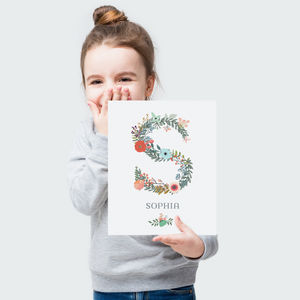 Floral Initial Letter Personalised Name Print - flower girl gifts
