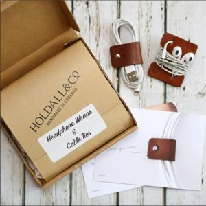 Personalised Leather Cable And Headphone Organisers - winter sale