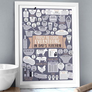 Personalised Kitchen Print How To Cook Everything - food & drink prints