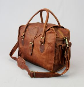 Vintage Style Leather Weekend Bag - whatsnew