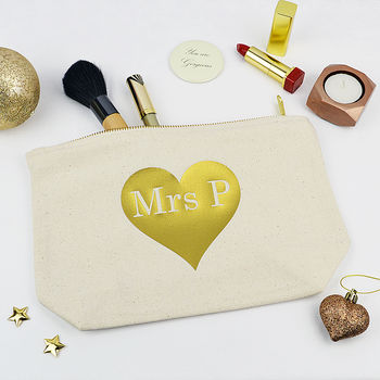 Personalised Gold Heart Make Up Purse