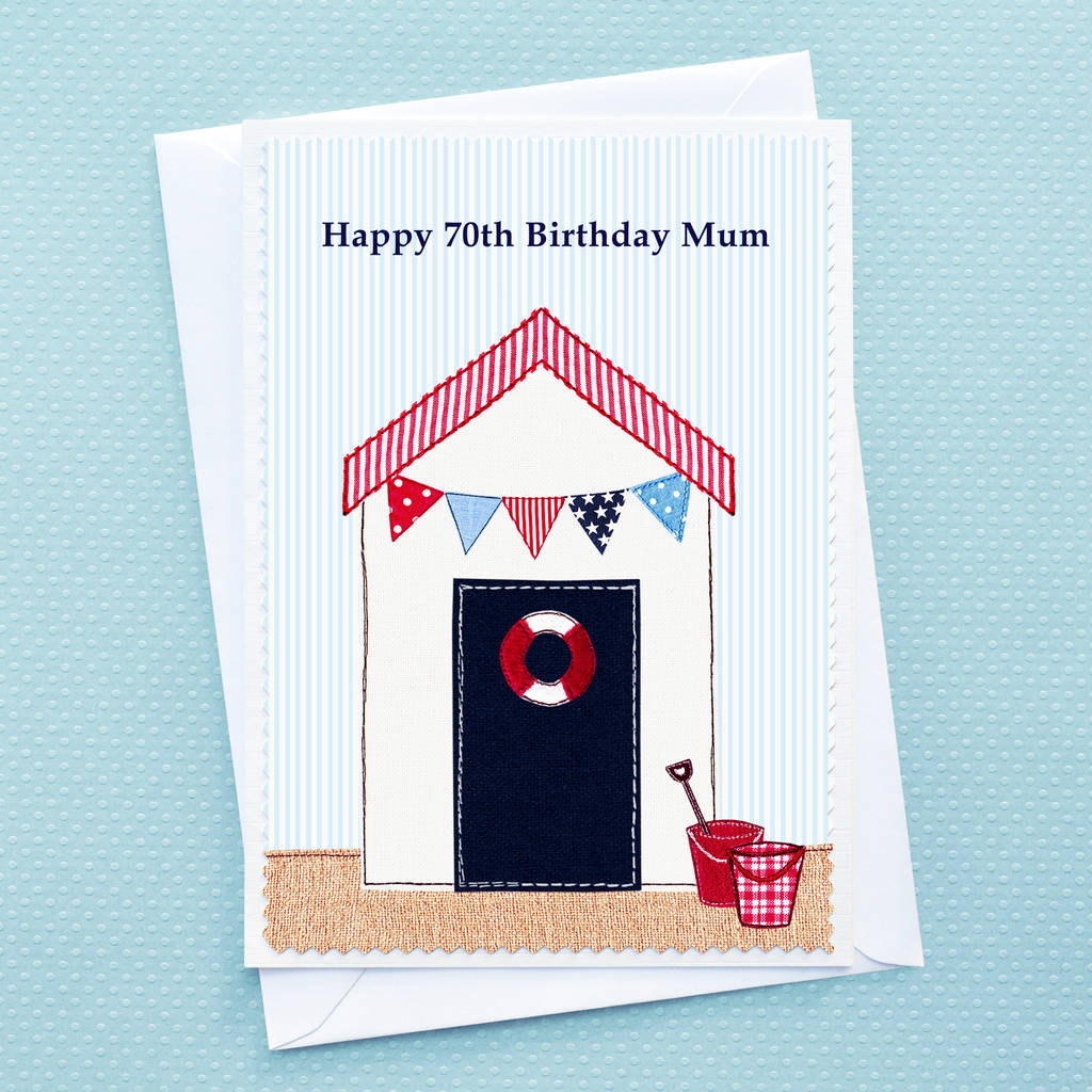 Large A5 Beach Hut Birthday Card Personalised With Your Own Wording