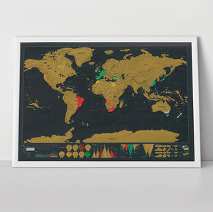 Scratch Map® Deluxe World Map Poster - mixed media & collage