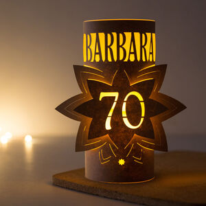 70th Birthday Personalised Star Lantern Centrepiece