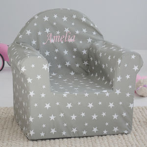 Personalised Grey Star Print Chair - children's room