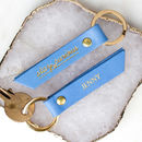 Personalised 'Stay Curious' Coloured Leather Keyring