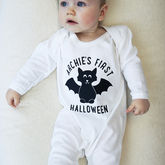Personalised First Halloween Baby Sleepsuit - baby & child