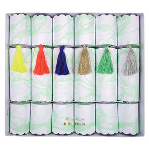 Mint Marbled Christmas Crackers - christmas decorations