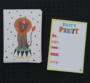 12 Child's Party Invites Lion Design