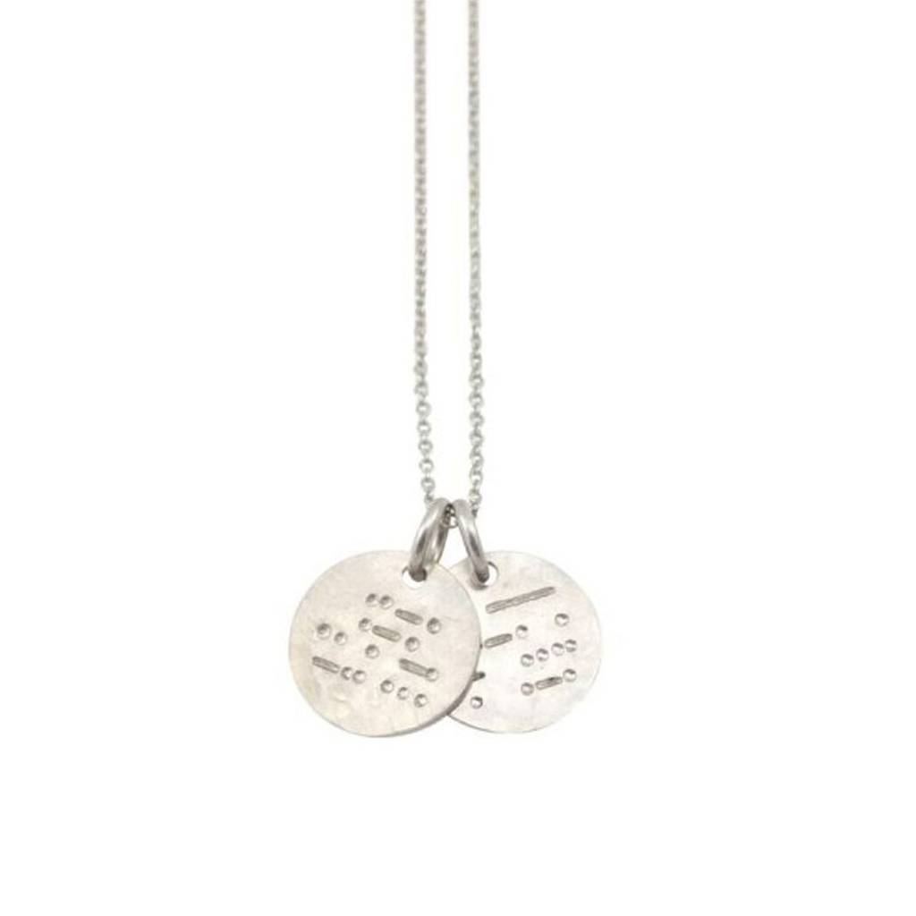 Silver Morse Code Friends Together Disc Necklace