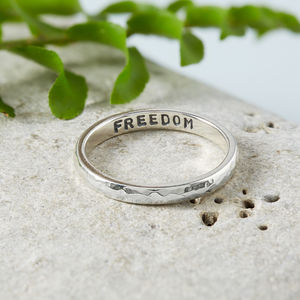 Skinny Silver Hidden Message Ring - wedding rings