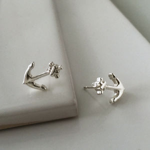 Anchor Stud Earrings In Sterling Silver - earrings
