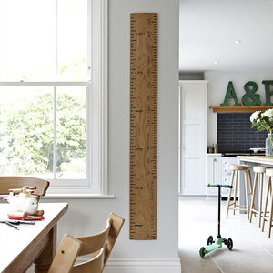 Solid Oak Kids Rule Wooden Ruler Growth Chart