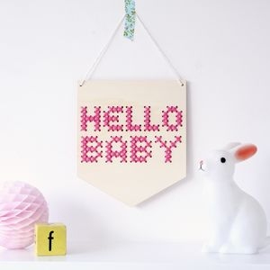 Hello Baby Small Cross Stitch Wooden Banner