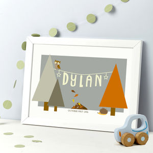New Baby Woodland Themed Personalised Print