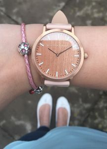 Classic Rose Gold Pink Leather Unisex Wood Watch