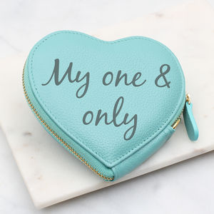 Personalised Leather Heart Zip Purse