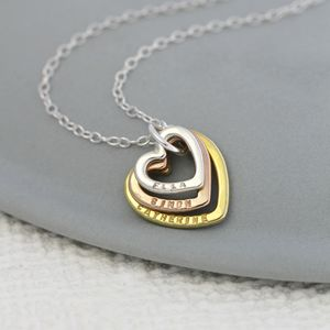 Personalised 9ct Mixed Gold Family Names Heart Necklace