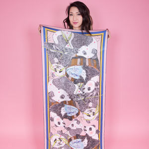 Ladies Panda Print Shawl Silk Scarf