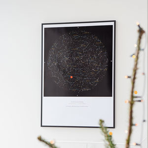 Personalised Map Of The Stars Print - 1st anniversary: paper