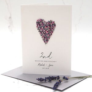 2nd Cotton Heart Personalised Anniversary Card