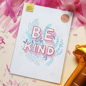 Be Kind Illustrated Motivational Self Care Print