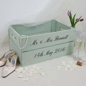 Personalised Wedding Gift Crate With Calligraphy - storage & organisers