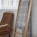 Merino Lambswool Light Grey Windowpane Throw