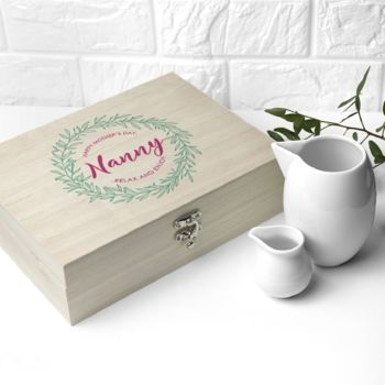 Personalised Botanical Wreath Filled Tea Box