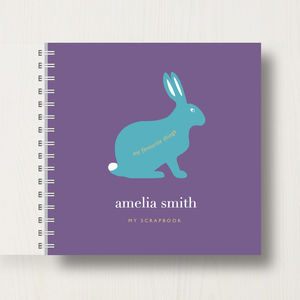 Personalised Kid's Rabbit Scrapbook Or Memory Book