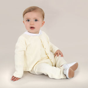 Baby Boy Vintage White Winter Christening Two Piece - babygrows
