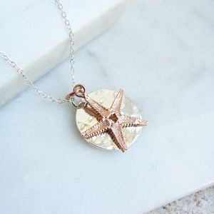 Hammered Silver Pendant With Gold Starfish