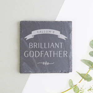 Godfather Gift Personalised Slate Coaster - tableware