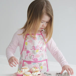 Personalised Flamingo Print Apron - gifts for children