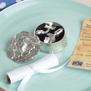 Christening Cufflinks In A Little Acorns Box - christening gifts